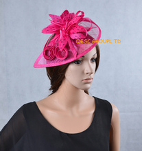NEW Fuchsia hot pink Sinamay Fascinator Hat with feather flower for Melbourne Cup,Ascot Races, Kentucky derby wedding.(China)