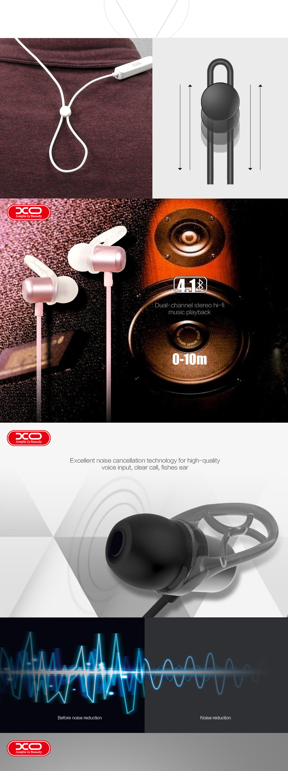 Bluetooth In-Ear XO BS2 Sports Magnetic Bluetooth Headset 4.1 version with Microphone Sweatproof Stereo tereo Bluetooth Headset
