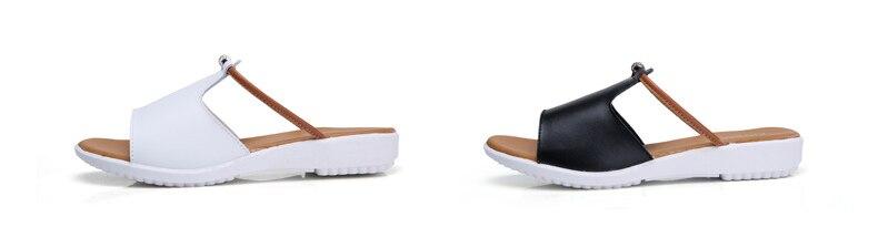 O16U Women Slipper Shoes Genuine Leather Slide Shoes Ladies Outside ... c754b76bed52