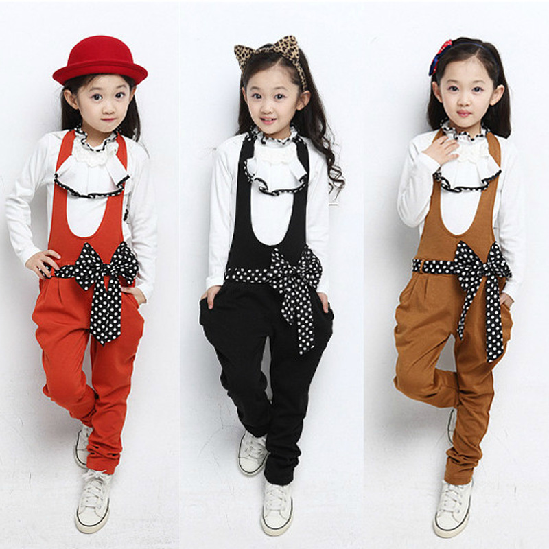 Free shipping children clothing Spring/autumn girl fashion set girl bib pants fashion pullover suit<br>