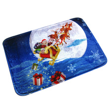 Christmas HD Printed Non-Slip Bath Mat Absorbent Home Decor doormat  Blue Santa Claus