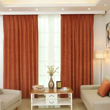 FUNIQUE High Quality Orange 1 PC Luxury Solid Color Chenille Curtains For Living Room Window Curtains Bedroom Drapes(China)