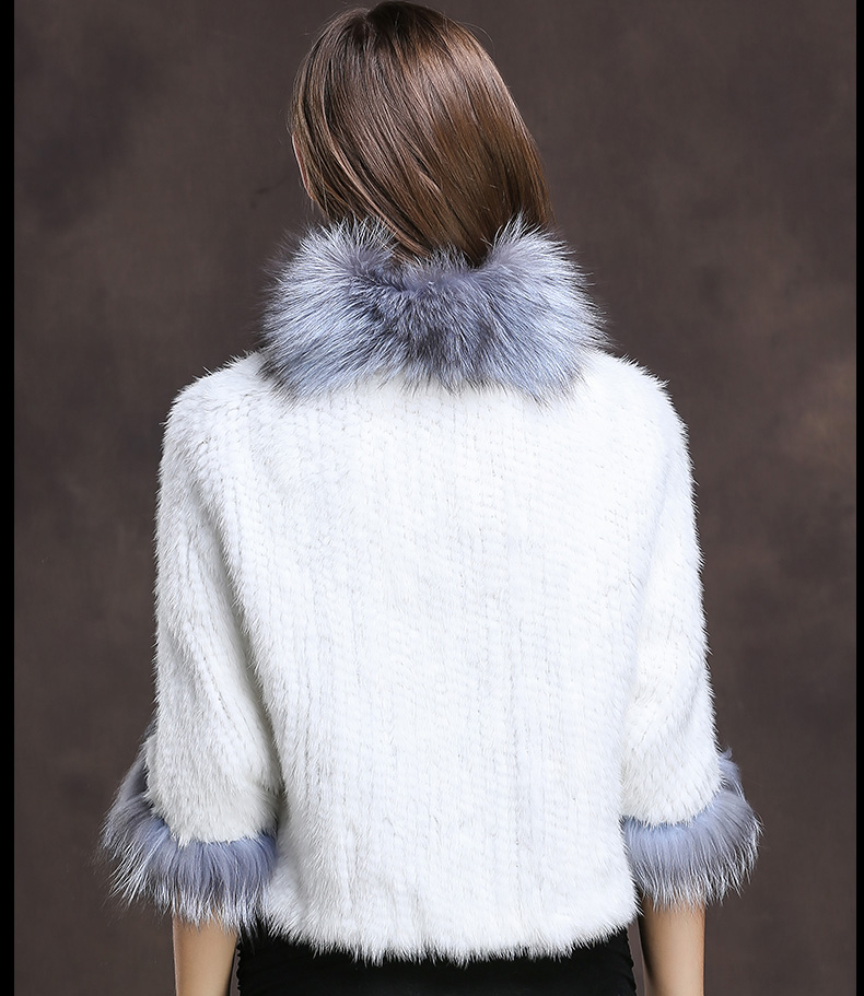 Winter Shawl Wrap Poncho Real Knit Mink Fur shawl With Fox Trimming Real fur Jacket coats party 2017 new (21)