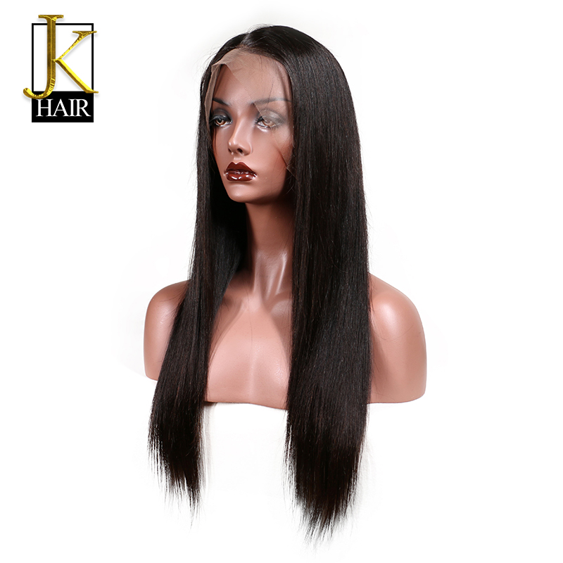 JK Pre Plucked Full Lace Human Hair Wigs With Baby Hair For Black Women Remy Brazilian Straight Human Hair Wig Natural Hairline(China (Mainland))