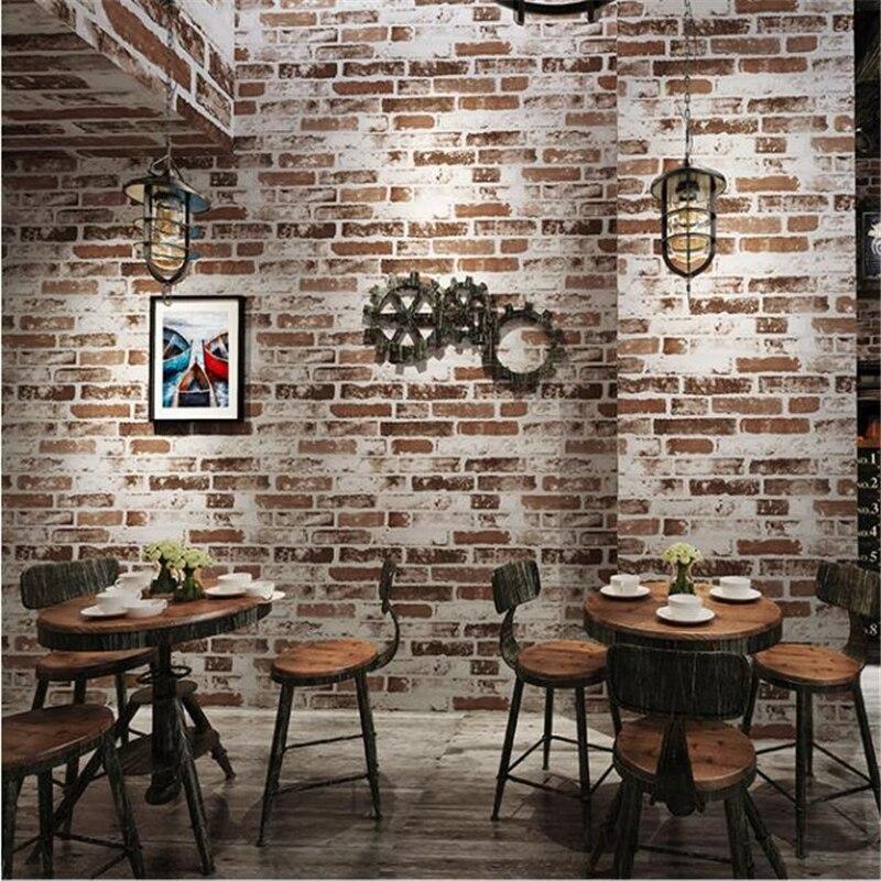 beibehang new Retro nostalgia 3D three-dimensional imitation bricks wallpaper restaurant cafe bar net coffee red brick wallpaper<br>