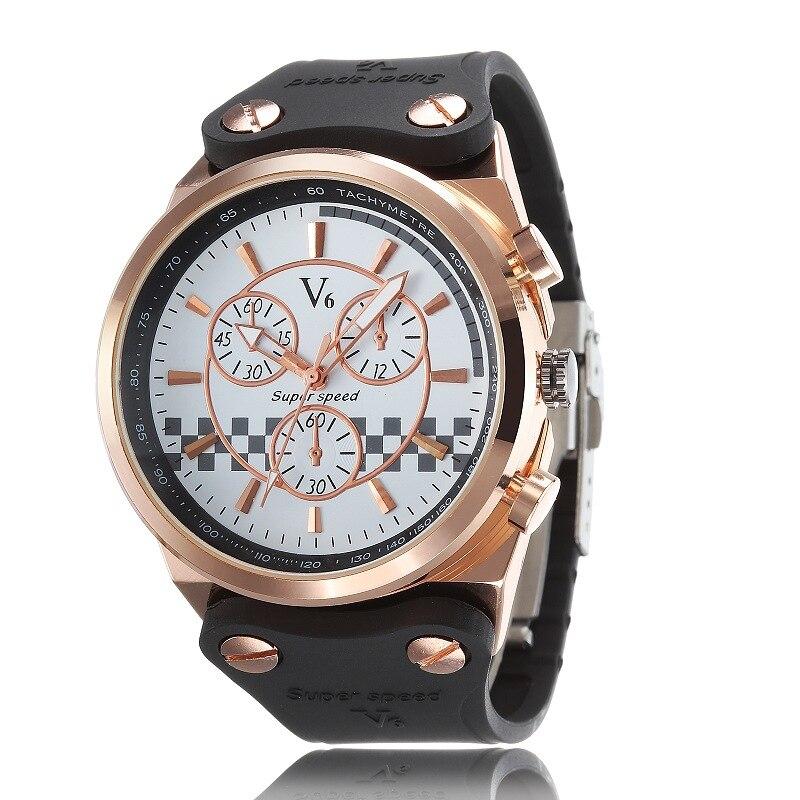 Fashion Sports Watches Super Speed V6 Quartz Wristwatch Analog MensTop Brand Luxury Large Dial Silicone Strap Relogio Masculino<br><br>Aliexpress