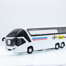 2017 Hot sell 1:36 Passenger Car Diecast Alloy Metal Luxury Bus Model Collection Model Pull Back Toys Car Gift For Boy(China)