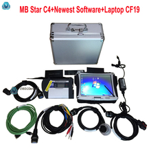 Top Quality MB STAR C4 SD connect Auto diagnostic scanner Xentry Developer full chip mb star c4 with laptop Toughbook CF-19(China)