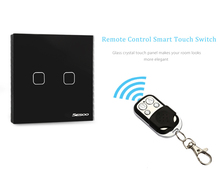 SESOO Smart Touch Light Switch 2 Gang 1-way Intelligent Controller Crystal Panel With Remote Control 110 - 240V Smart Switch