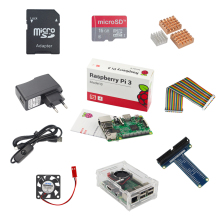 Raspberry Pi 3 Starter Kit UK Raspberry Pi 3 Model B + 5V 2.5A Power Supply+ 16G SD Card + Heatsinks + Cooling Fan +GPIO Adapter