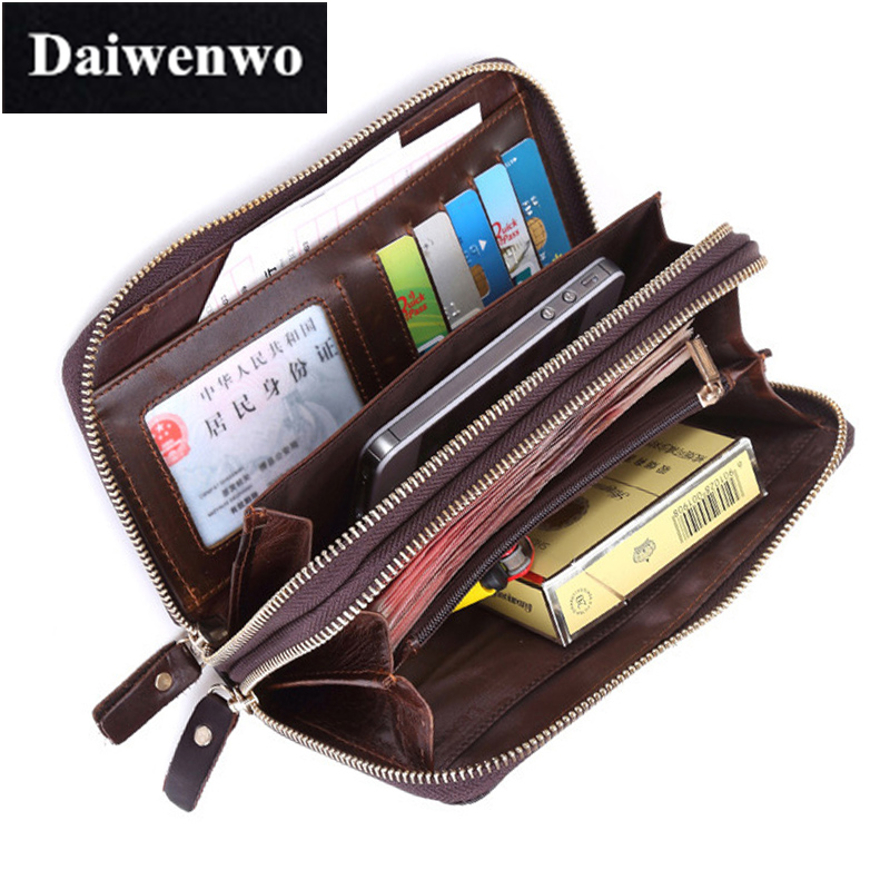 Brand First Layer Real Leather Day Clutch Bag Men Wallets Large Capacity Male Long Wallet Phone Bag Oil Wax Cowhide Purse Gift<br><br>Aliexpress