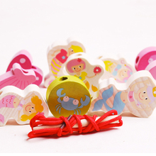 D606 Free shipping selling wooden toy exercise eye beading Ju wood puzzle toy beads big particles(China)