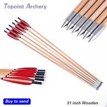6pcs 31''Archery wooden Arrows handmade with 5''Turkey feather Recurve Long Bow site shooting 20-70 lbs Red Feathers(China)