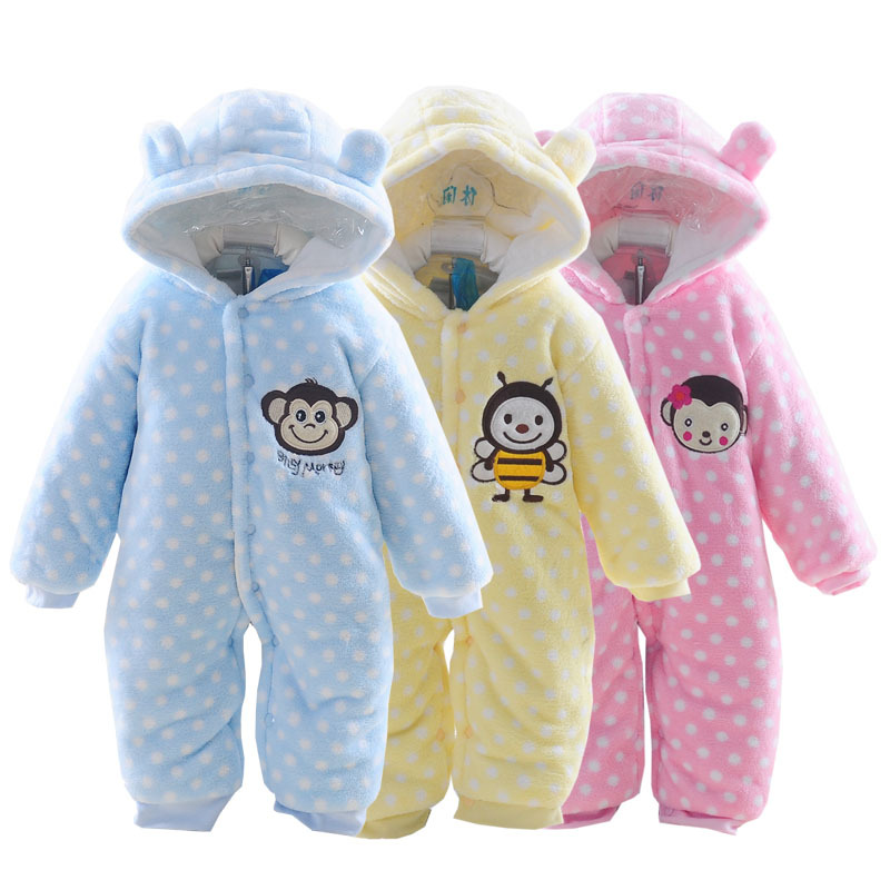 Cute Spring Autumn Baby Rompers Flannel Baby Boys Girls Jumpsuits Cartoon Hooded Jumpsuit Children Soft Rompers Kids Clothes<br>