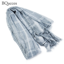 New fashion women tartan plaid print cotton linen scarves lady spring autumn thin air shawl wraps hijab super long bufanda mujer