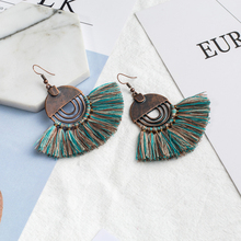 Antique alloy cotton fan tassel drop earrings Boho ethnic earring for women bridal wedding costume jewelry accessories fashion(China)