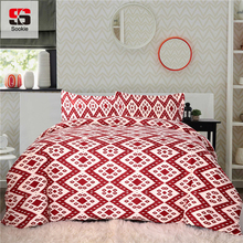 Sookie 3pcs 100% Cotton Duvet Cover Sets Geometric Quilt Cover 2 Pillowcase Bed Linen Rhombus Pattern King Bedding Set 230x230cm(China)