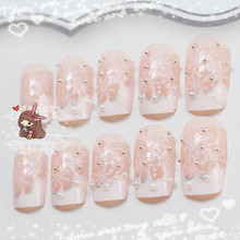 24pcs Fake Nails Acrylic Nail Art Decoration Faux Ongles Christmas White Snowflower for Girls Lady Full Nails Tips DIY Manicure