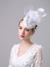 Ladies White Wedding Lace Fascinator Hat For Bride Hairband Sinamay Feather Waterdrop Fascinator Hair Accessories Party Church