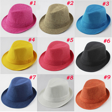 Baby Fedora Hat Solid Color Children Hat Kids Linen Jazz Cap Cowboy Hat Fedoras Dicers FH017(China)