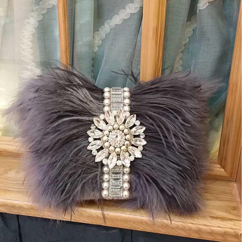 2017 Real Fur Handmade Beaded Messenger Bag Fashion Evening Bag Women Clutch Bag Delicate Banquet Bags Bride Wedding Party Purse<br>