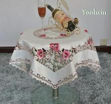 Modern square Satin Tablecloth mantel nappe embroidered white lace tea Table Cover cloth kitchen Year Christmas Wedding Decor(China)