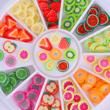 3D Polymer Clay Tiny Fimo Fruit Nail Sparkle Colorful Lovely DIY 3D Nail Art Decorations in Wheel 12 Patterns