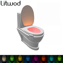 Litwod 8 Colors LED Toilet Night light Motion Activated Sensor ToiletLight Sensitive Battery-operated Lamp 3d tooth lamp  HOT