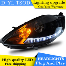 D_YL Car Styling for Ford Fiesta Headlights 2009-2012 Fiesta LED Headlight DRL Lens Double Beam H7 HID Xenon bi xenon lens(China)