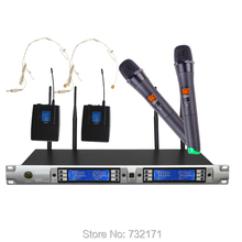 UHF 4 channels  Professional double handheld and double Waist hanged wireless microphone Each channel has 100channels optional