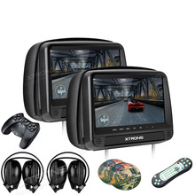 XTRONS Monitors 2pcs 9 inch HD Digital Panel Leather Cover Car Headrest DVD Players Zipper Design HDMI + 2 headphones Headsets(China)