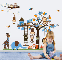 Bule Monkey Tree Wall Sticker Decals Funny Animals Ladders Adhesive Wallpaper Mural Boys Kids Home Bedroom Nursery Decoration