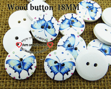 wholesale (200pcs/lot) butterfly wooden buttons for baby hat 18MM MCB-741(China)