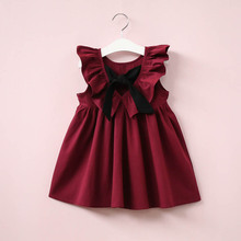 Everweekend Baby Girls Ruffles Bow Dress Vintage Candy Color Princess Holiday Dress