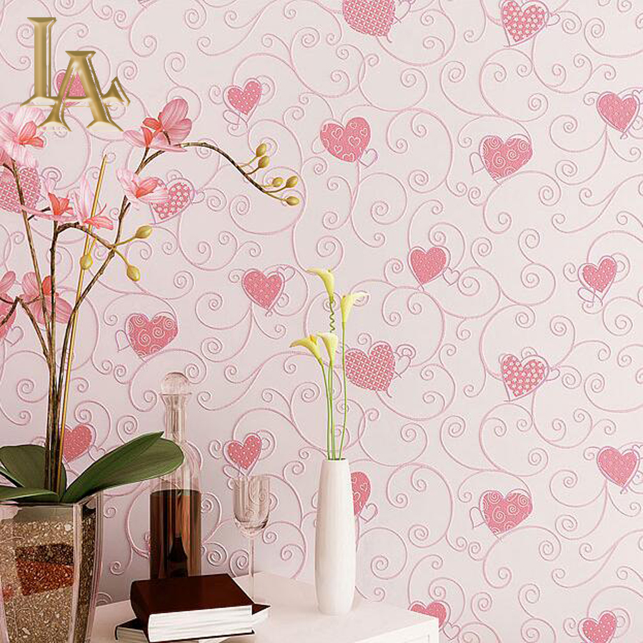 Nonwoven Cozy Wallpaper For Childrens Rooms 3D Wall paper Rolls Kids room Princess For Home Decor Blue Pink Love Design W213<br>
