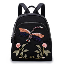 Handmade Waterproof Oxford Cheap Women Backpack Embroidery Shoulder Back Bag National Style Backpacks for Teenage Girls(China)