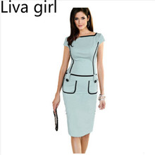 Liva girl mujeres de verano patchwork pocket dress oficina de trabajo de desgaste ol dress de manga corta formal de la vendimia lápiz dress 3xl verde negro