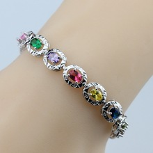 Resplendent Colorful Multi-Color Gems 925 Sterling Silver Bracelet Health Fashion  Jewelry For Women Free Jewelry Box SL150