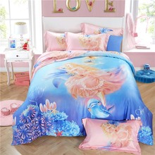 Luxury 100% natural Tencel silk angel girl princess Ocean underwater world lovely whale 4pcs bed linen bedding set present/3575