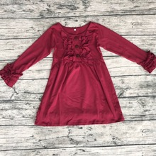 china wholesale Christmas Wine baby girls party dress New arrival kids fancy cotton knit dress childrens ruffle dresses