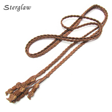 160cm Women Vintage PU Leather Braided Belt Waist Chain Fashion Slender Bind Woven Belts Cummerbund Knitted Waistband B219