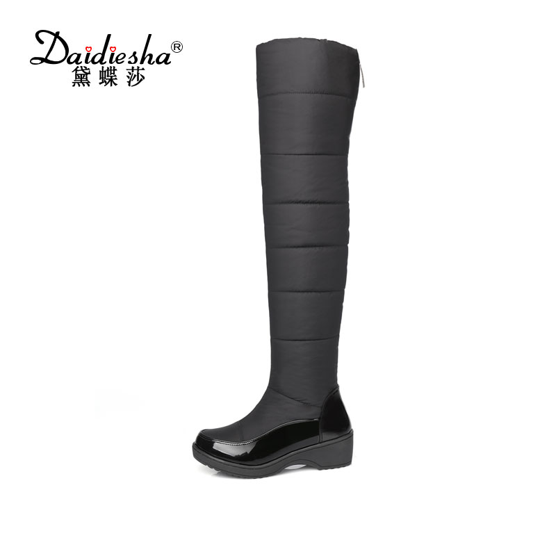 Daidiesha  2017 winter russia keep warm women snow boots thick fur fashion platform down winter over the knee boots<br>