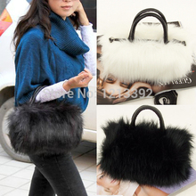 2017 bolsa feminina  Fashion Korean Style PU Leather& Faux Fur Tote Clutch Shoulder Women Messenger Bag AGD FA$B