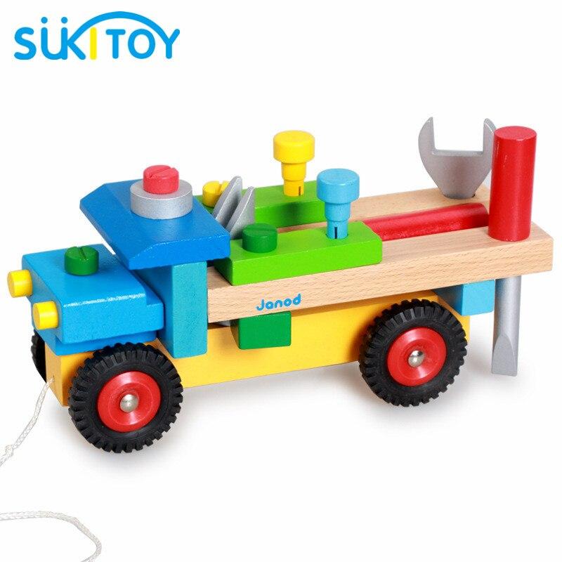 Kids Soft Montessori Wooden Vehicle Truck Assemblage Blocks Toy Set with Nut &amp; screwdriver DIY Gift For children<br><br>Aliexpress