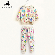 Girls Clothes Sets Spring/Autumn Casual Print Graffiti T-shirt+Pant Suit Toddler Clothing Sets Size 2T/3T/4T/5T/6T/7T MFS-606539(China)
