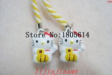 Free shipping! Wholesale Hot sale 50pcs fashion Cute Hello Kitty Bell Cell Phone Charm Strap Christmas gift