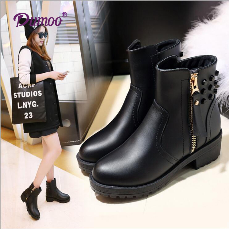 Fashion Women Boots Side Zipper Ankle boots fashion Rivets shoes women boots on sale plus size 35-43<br><br>Aliexpress