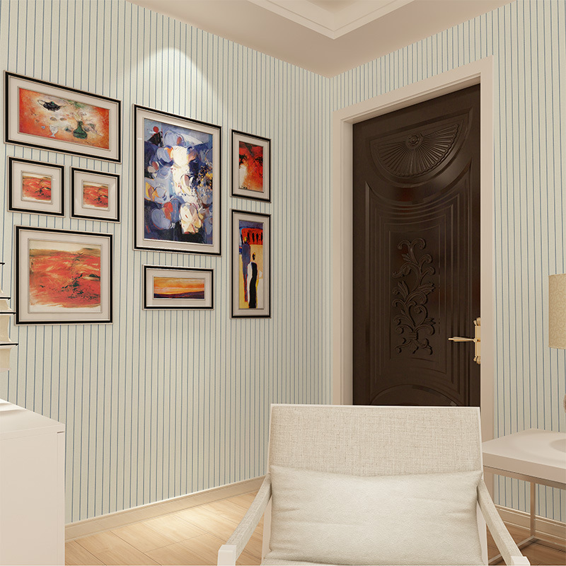 Beibehang Modern plain simple vertical striped green wallpaper. Living room TV background wall non - woven 3d wallpaper roll<br>
