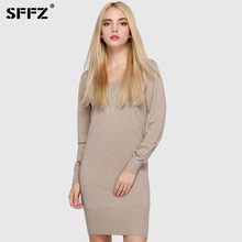 Buy SFFZ High Women Sweater Dresses Solid Apricot Grey Long Sleeve V-Neck Slim Soft Femme Knitted Dress Casual Clothes for $41.51 in AliExpress store