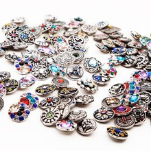 10pcs/lot 18mm Wholesale Mixed Retro Vintage Round diy Snap Button Charm Fit Bracelet Rhinestone Cabochons Button MDB18-M-1(China)